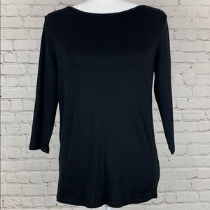 Faded Glory Solid Black Crew Neck Top Size Large